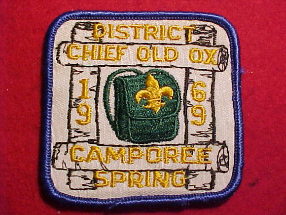 1969 PATCH, CHIEF OLD OX DISTRICT CAMPOREE, SPRING