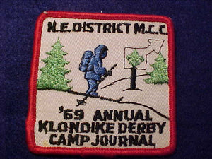 1969 PATCH, MILWAUKEE COUNTY C. N.E. DISTRICT, CAMP JOURNAL KLONDIKE DERBY