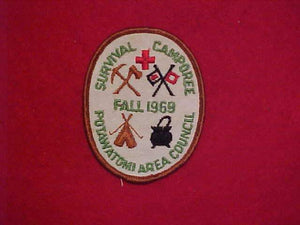 1969 POTAWATOMI AREA COUNCIL FALL SURVIVAL CAMPOREE, USED