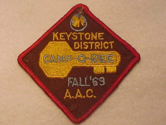 1969 PATCH, ATLANTA AREA C., KEYSTONE DISTRICT FALL CAMPOREE, USED