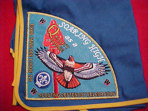 129 P3 EGWA TAWA DEE, QUALITY LODGE, SCOUTING CENTENARY CELEBRATION, ON BLUE NECKERCHIEF
