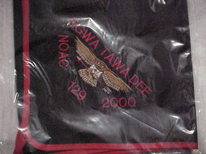 129 N3 EGWA TAWA DEE NECKERCHIEF, NOAC 2002, EMBROIDERED, MINT IN ORIG. BAG