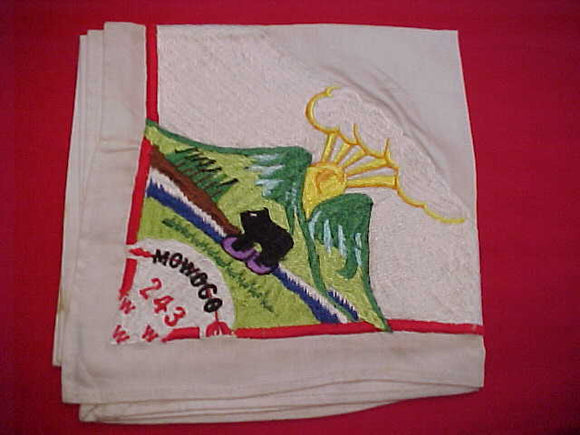 243 N1 MOWOGO, EARLY 1960'S ISSUE NECKERCHIEF, USED/STAINED, EACH IS SLIGHTLY DIFFERENT BECAUSE THEY WERE HAND MADE IN KOREA