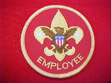 EMPLOYEE, YELLOW LETTERS, COMPUTER DESIGNED, 4 RED STRIPES