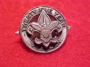 25 YEAR VETERAN PIN WITH POINTS ON SIDES OF PIN, ISSUED 1965-70'S
