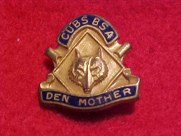 DEN MOTHER, CUBS BSA PIN, SPIN LOCK STYLE, ISSUED 1932-46