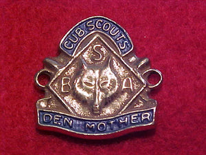 DEN MOTHER, CUB SCOUTS PIN, ORIGINALLY SEWN ONTO LADIES GARRISON HAT,1940'S-50'S