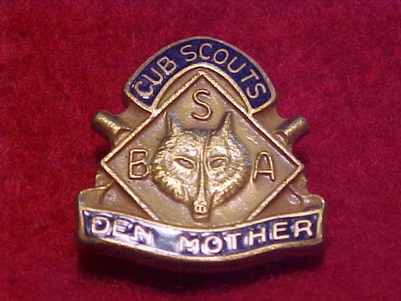 DEN MOTHER, CUB SCOUTS PIN, SPIN LOCK STYLE, 1947-60'S ISSUE