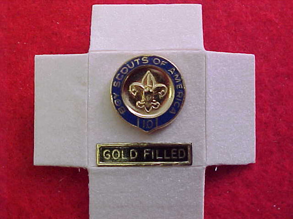 VETERAN PIN, 10 YEAR, GOLD FILLED, 1/10 10 KARAT, CREST CRAFT MANUFACTURE