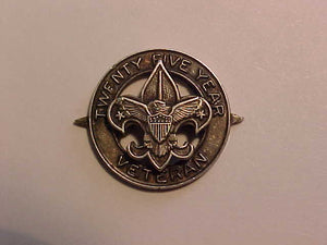 "VETERAN PIN, 25 YEAR, STERLING SILVER, MARKED ""SS"" ON BACK, POINTS ON LEFT AND RIGHT, 1965-70'S ISSUE"