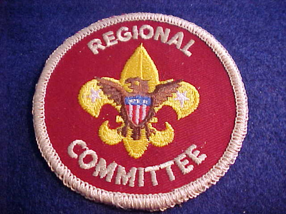 REGIONAL COMMITTEE, 1973-, FLAT ROLLED BDR., PLASTIC OVER GAUZE BACK