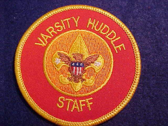VARSITY HUDDLE STAFF, NO WREATH, RED BKGR., RARE