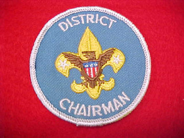 DISTRICT CHAIRMAN, CLOTH BACK, 1973