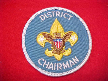 DISTRICT CHAIRMAN, PLASTIC BACK, 1973-PRESENT