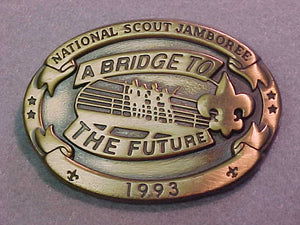 BELT BUCKLE, 1993 NATIONAL SCOUT JAMBOREE, BRIDGE TO THE FUTURE