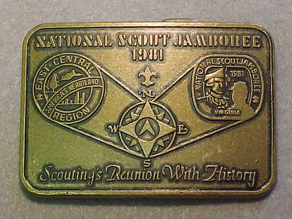 BELT BUCKLE, 1981 NATIONAL SCOUT JAMBOREE, EAST CENTRAL REGION