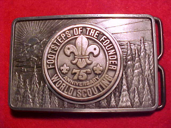 Footsteps of the Fouder, 75th Anniversary World Scouting, pewter buckle with token center