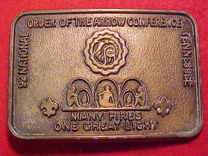 1992 National Order of the Arrow Conference belt buckle. NOAC.