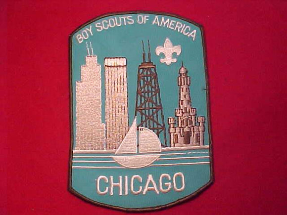 CHICAGO AREA COUNCIL JACKET PATCH, PLASTIC BACK, 5.75 X 8.25