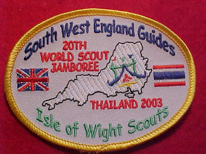 WJ PATCHES, 2003, SOUTH WEST ENGLAND GUIDES, ISLE OF WIGHT SCOUTS, THAILAND