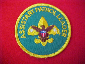ASSISTANT PATROL LEADER, 1972-89, PLASTIC BACK