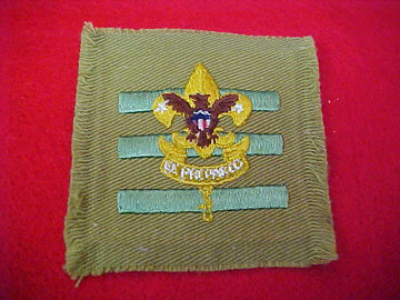 JUNIOR ASSISTANT SCOUTMASTER, TAN FULL SQUARE, TALL CROWN, USED, 1936-42