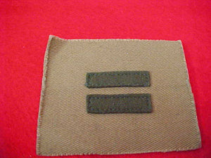 "PATROL LEADER, 10MM WIDE BARS, FULL SQUARE TAN 2-5/8""X3-1/8"", MINT CONDITION, 1914-33"