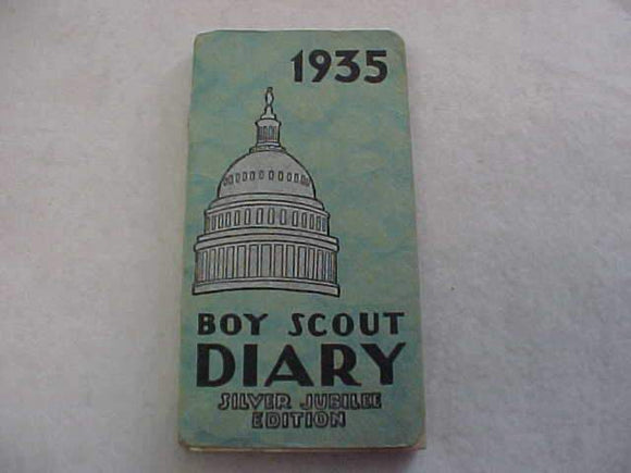 1935 BSA DIARY, SILVER JUBILEE EDITION, GOOD CONDITION, DIARY OWNED BY SCOUT IN FT. WORTH, TX