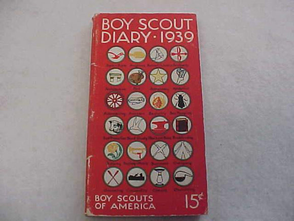 1939 BSA DIARY, VERY GOOD CONDITION, NO WRITING OTHER THAN SCOUTS' NAME ON INSIDE