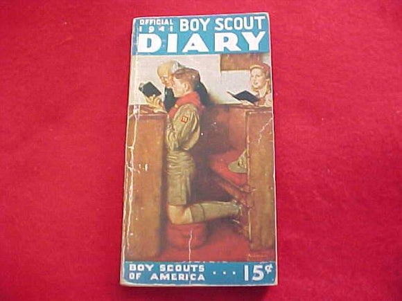 1941 BSA DIARY, EXCELLENT CONDITION, NO WRITING OTHER THAN SCOUTS NAME ON PAGE 1