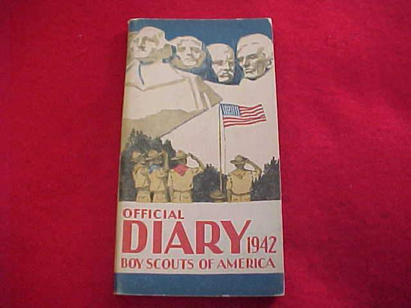 1942 BSA DIARY, EXCELLENT CONDITION, NO WRITING OTHER THAN SCOUTS NAME ON PAGE 1