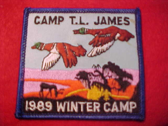 T. L. JAMES, WINTER CAMP, 1989, BLUE BORDER