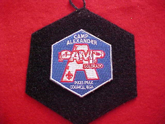 ALEXANDER, UNUSUAL VELCRO BACKED PATCH ATTACHED TO A HEX VELCRO PATCH W/ BUTTON LOOP