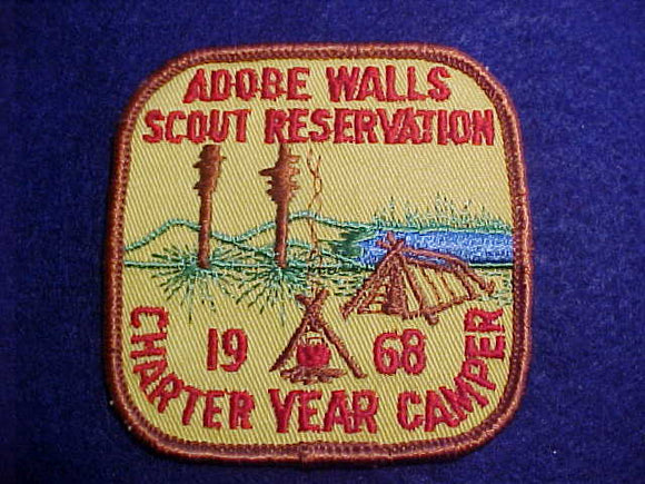 ADOBE WALLS SCOUT RESV., 1968, CHARTER YEAR CAMPER