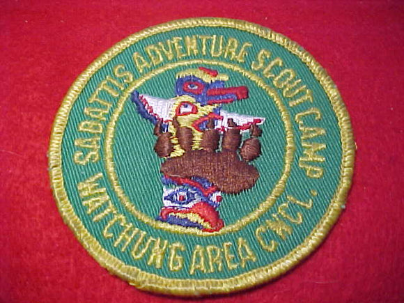 SABATTIS ADVENTURE SCOUT CAMP, 1960'S, WATCHUNG A. C., USED