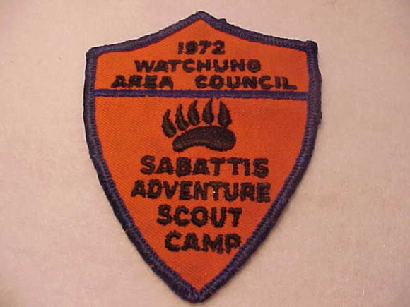 SABATTIS ADVENTURE SCOUT CAMP, 1972, WATCHUNG A. C., USED