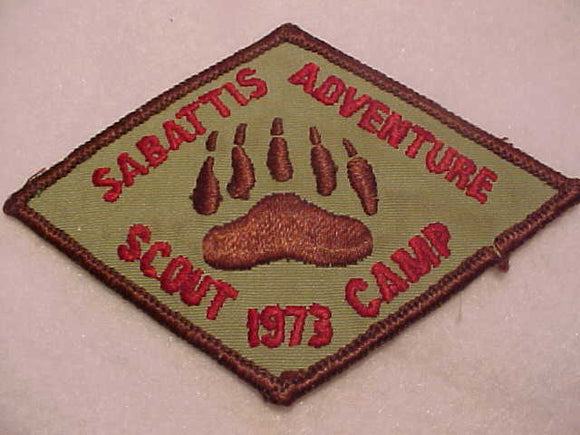 SABATTIS ADVENTURE SCOUT CAMP, 1973, WATCHUNG A. C., USED