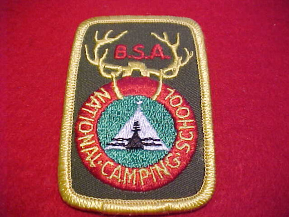 NATIONAL CAMPING SCHOOL, R/E, ROUNDED CORNERS, PB, DARK KHAKI GREEN TWILL