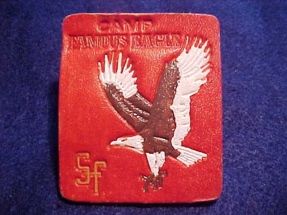 FAMOUS EAGLE NECKERCHIEF SLIDE, PAINTED LEATHER, RECTANGLE