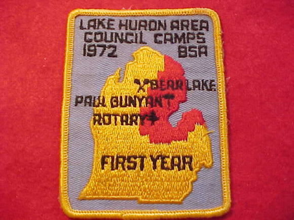 LAKE HURON AREA COUNCIL CAMPS, BEAR LAKE, PAUL BUNYAN, ROTARY, FIRST YEAR, 1972, USED, GLUE ON BACK