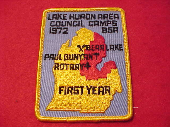 LAKE HURON AREA COUNCIL CAMPS PATCH, 1972, FIRST YEAR, BEAR LAKE/PAUL BUNYAN/ROTARY