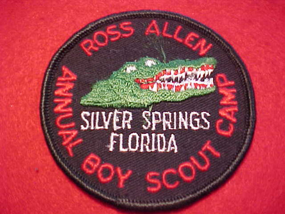 ROSS ALLEN PATCH, ANNUAL BOY SCOUT CAMP, 1960'S, SILVER SPRINGS, FL