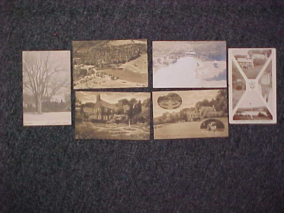 SCHIFF SCOUT RESV. POSTCARDS, 1930'S, 6 DIFFERENT, NEVER MAILED