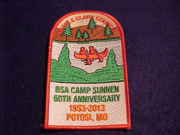 SUNNEN PATCH, 1953-2013, 60TH ANNIV., LEWIS & CLARK C., POTOSI, MO