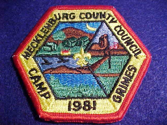 GRIMES PATCH, 1981, MECKLENBURG COUNTY C., NO BUTTON LOOP