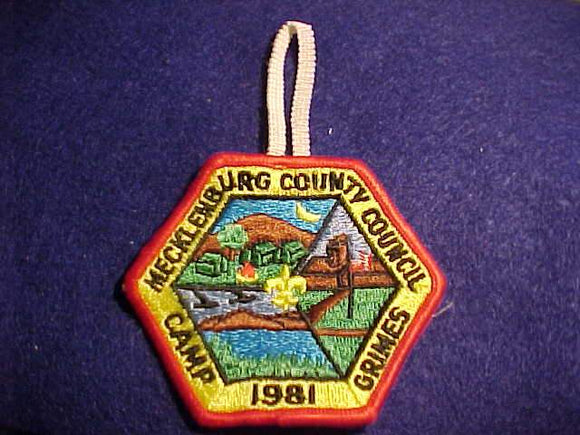 GRIMES PATCH, 1981, MECKLENBURG COUNTY C., W/ BUTTON LOOP