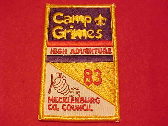 GRIMES PATCH, 1983, HIGH ADVENTURE, MECKLENBURG COUNTY C.