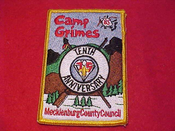 GRIMES PATCH, 1985, TENTH ANNIV., MECKLENBURG COUNTY C.