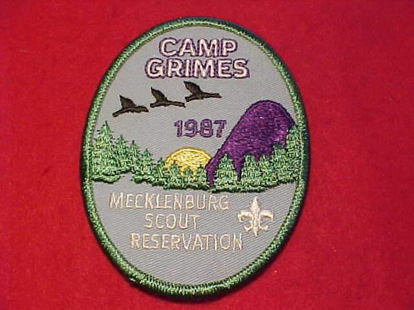 GRIMES PATCH, 1987, MECKLENBURG SCOUT RESV., PARTIALLY EMBROIDERED