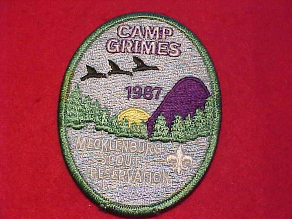 GRIMES PATCH, 1987, MECKLENBURG SCOUT RESV., FULLY EMBROIDERED